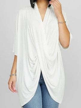 Half Sleeve V-Neck Mid-Length Casual Loose Women's T-Shirt