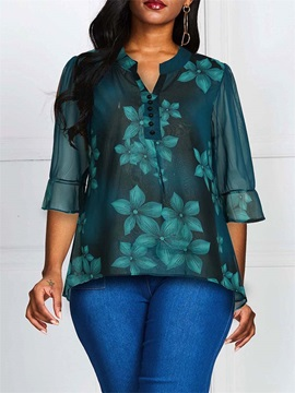 Floral Print Three-Quarter Sleeve Mid-Length Women's Blouse