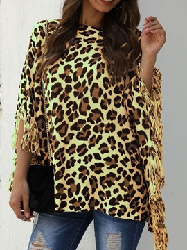 Three-Quarter Sleeve Round Neck Leopard Fall Casual Women's T-Shirt