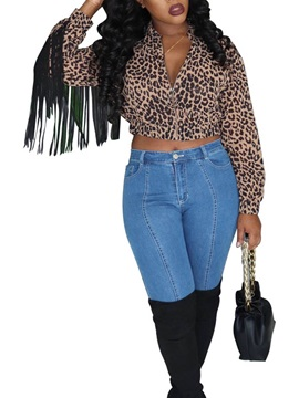 Leopard Long Sleeve Short Women's Blouse