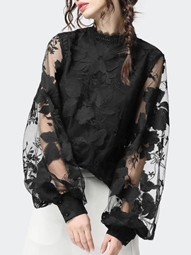 Lace Plant Puff Sleeve Standard Long Sleeve Women's Blouse