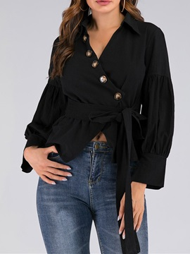 Ladylike Button Long Sleeve Standard Women's Blouse