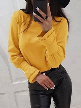 Round Neck Plain Flare Sleeve Long Sleeve Standard Women's Blouse