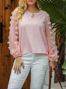Round Neck Long Sleeve Standard Women's Blouse