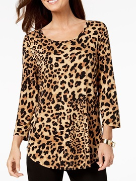 Round Neck Mid-Length Leopard Casual Loose Women's T-Shirt