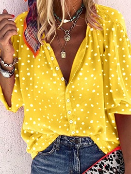Lapel Print Polka Dots Long Sleeve Standard Women's Blouse