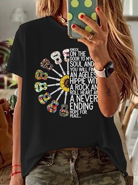 Short Sleeve Round Neck Floral Casual Loose Women's T-Shirt