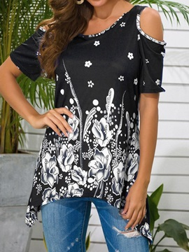 Round Neck Mid-Length Floral Casual Loose Women's T-Shirt