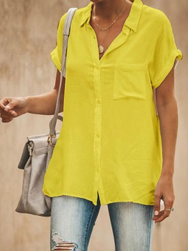Plain Lapel Button Mid-Length Short Sleeve Women's Blouse