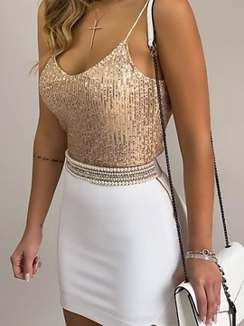 Sequins Spaghetti Straps Short Women's Tank Top