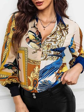 Lantern Sleeve Lapel Print Long Sleeve Standard Women's Blouse