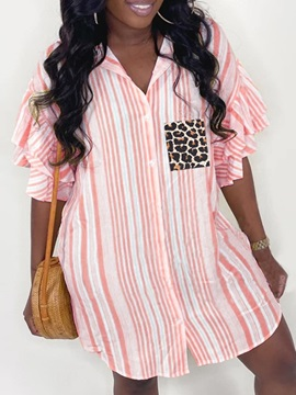 Button Stripe Lapel Short Sleeve Long Women's Blouse