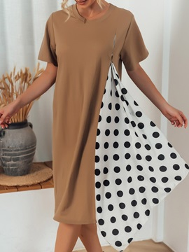 Polka Dots Round Neck Long Loose Casual Women's T-Shirt
