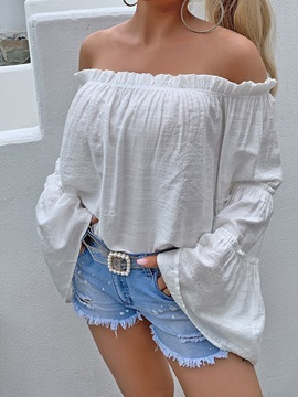 Stringy Selvedge Flare Sleeve Off Shoulder Standard Long Sleeve Women's Blouse