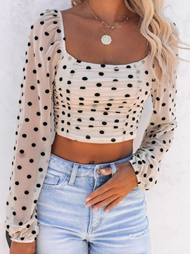 Square Neck Polka Dots Pleated Long Sleeve Short Women's Blouse
