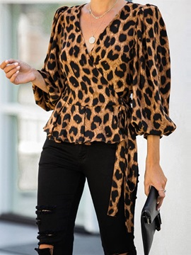 Lantern Sleeve V-Neck Print Three-Quarter Sleeve Standard Women's Blouse