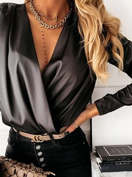 V-Neck Plain Standard Long Sleeve Women's Blouse