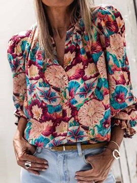 Button Floral Round Neck Standard Long Sleeve Women's Blouse
