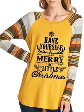 Christmas Letter Long Sleeve Round Neck Fall Western Women's T-Shirt
