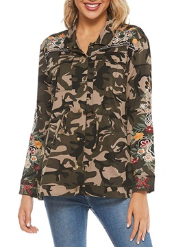 Camouflage Regular Embroidery Standard Long Sleeve Women's Blouse
