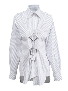 Button Stripe Lapel Mid-Length Long Sleeve Women's Blouse