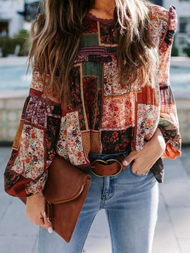 Floral Print Round Neck Standard Long Sleeve Women's Blouse