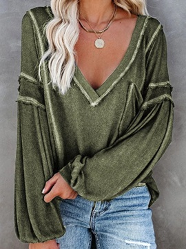 V-Neck Plain Long Sleeve Casual Fall Women's T-Shirt
