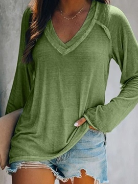 Plain Standard Long Sleeve Western Loose Women's T-Shirt