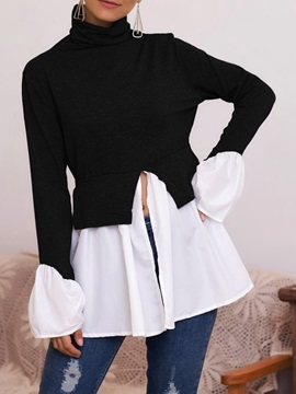 Color Block Patchwork Regular Mid-Length Long Sleeve Women's Blouse