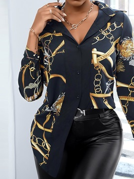 Lapel Patchwork Regular Long Sleeve Mid-Length Women's Blouse