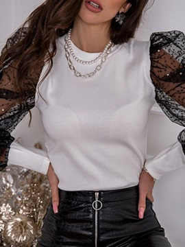 See-Through Plain Round Neck Standard Long Sleeve Women's Blouse