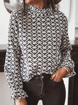 Print Geometric Standard Long Sleeve Women's Blouse