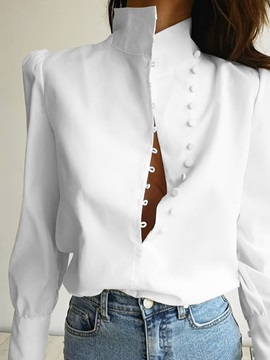 Stand Collar Plain Patchwork Long Sleeve Standard Women's Blouse