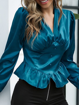 V-Neck Plain Regular Long Sleeve Standard Women's Blouse