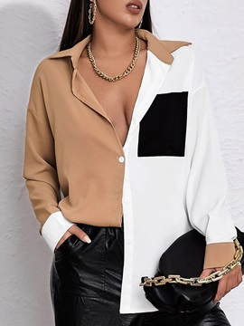 Color Block Regular Pocket Mid-Length Long Sleeve Women's Blouse