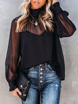 Plain See-Through Stand Collar Standard Long Sleeve Women's Blouse