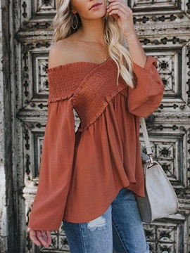 Plain Off Shoulder Flare Sleeve Standard Long Sleeve Women's Blouse