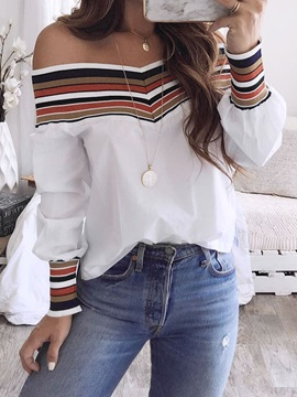 Patchwork Stripe Standard Long Sleeve Women's Blouse