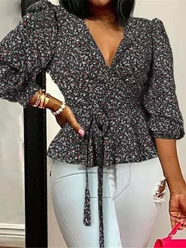 Bowknot Floral V-Neck Standard Three-Quarter Sleeve Women's Blouse