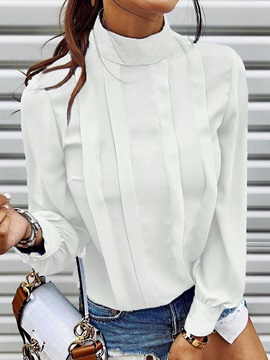 Plain Stand Collar Patchwork Long Sleeve Standard Women's Blouse