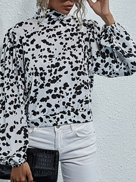 Leopard Turtleneck Regular Standard Long Sleeve Women's Blouse