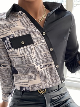 Geometric Regular Lapel Standard Long Sleeve Women's Blouse