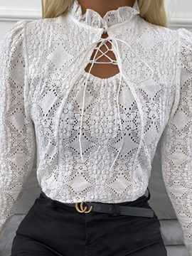 See-Through Regular Stand Collar Standard Long Sleeve Women's Blouse