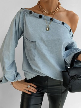 Plain Regular Off Shoulder Standard Long Sleeve Women's Blouse
