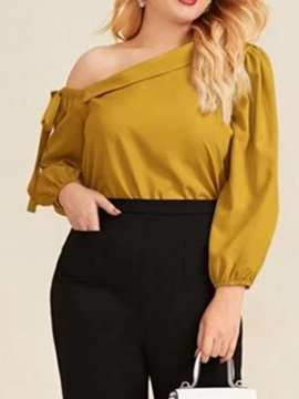 Plus Size Plain Patchwork Long Sleeve Standard Women's Blouse