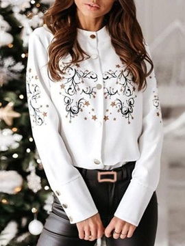 Floral Button Regular Standard Long Sleeve Women's Blouse