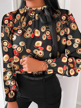 Print Stand Collar Regular Standard Long Sleeve Women's Blouse
