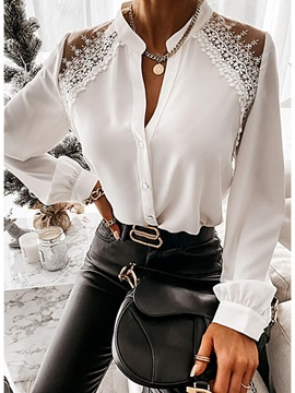 Lace Regular Stand Collar Standard Long Sleeve Women's Blouse