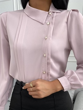 Plain Batwing Sleeve Lapel Standard Long Sleeve Women's Blouse