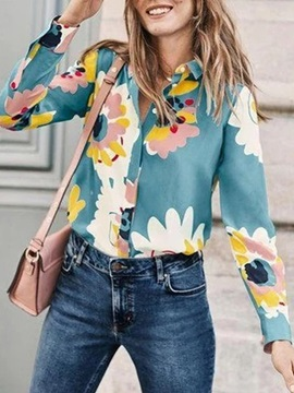 Lapel Floral Print Long Sleeve Standard Women's Blouse